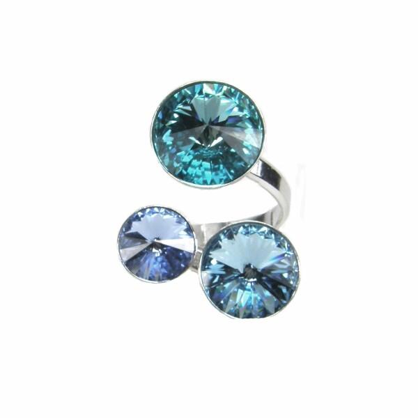 Bague Indicolite Ricochet en argent et cristaux Swarovski bleus