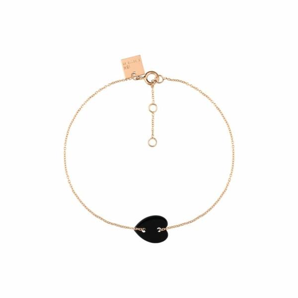 Bracelet GINETTE NY ANGELE en or rose et onyx