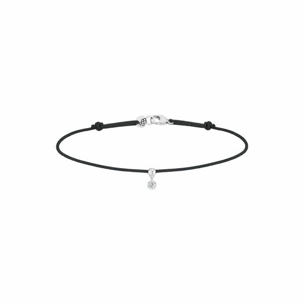 Bracelet sur cordon LA BRUNE ET LA BLONDE BB bleu en or blanc et diamant de 0.15ct
