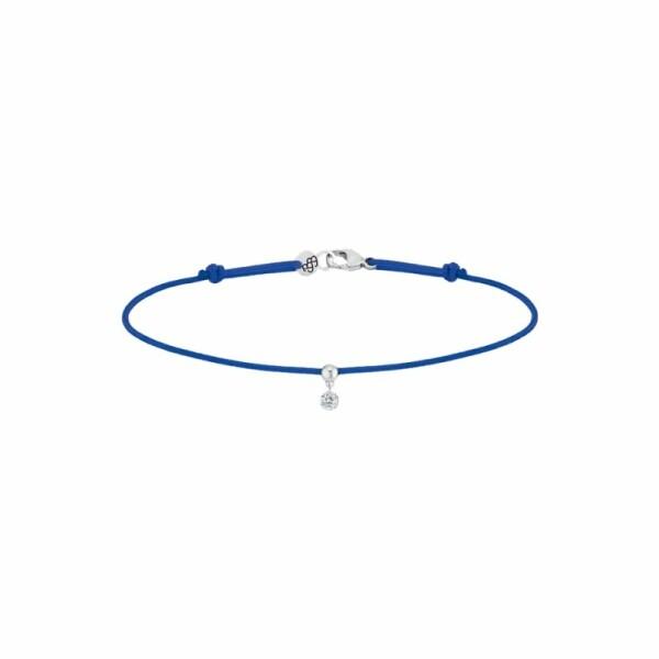 Bracelet sur cordon LA BRUNE ET LA BLONDE BB bleu en or blanc et diamant de 0.07ct