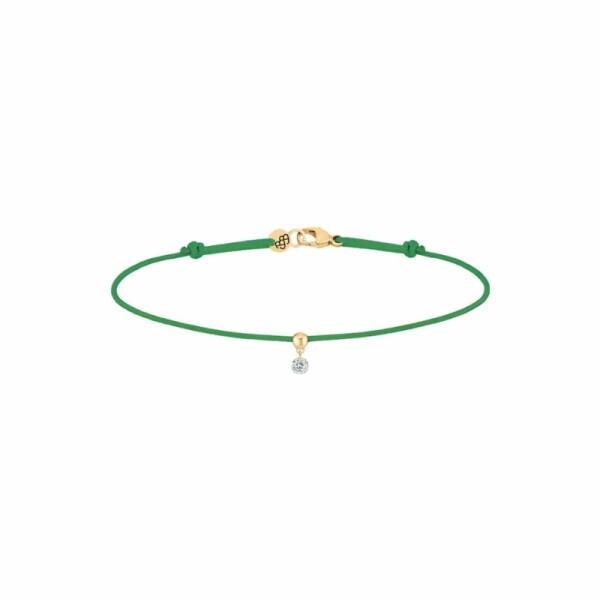 Bracelet sur cordon LA BRUNE ET LA BLONDE BB vert en or jaune et diamant de 0.07ct