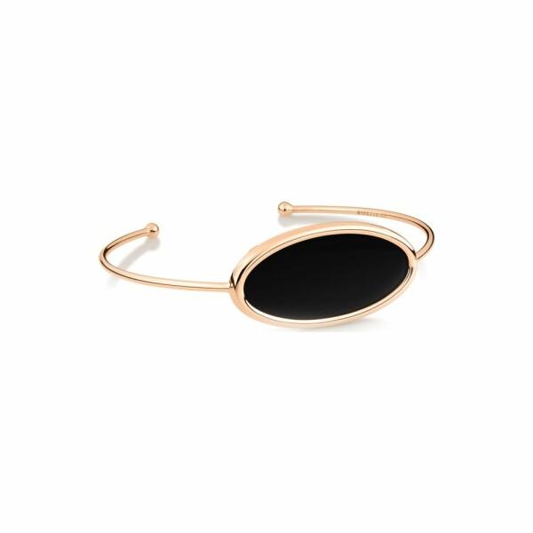 Bracelet GINETTE NY ELLIPSES & SEQUINS en or rose et onyx