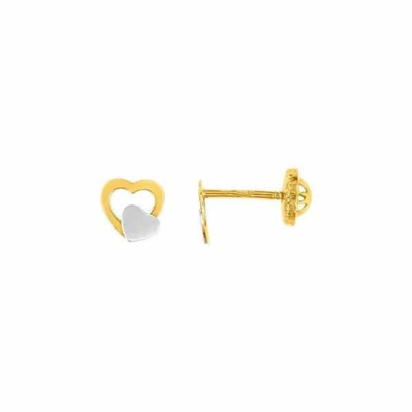 Boucles d'oreillles cœur en or jaune