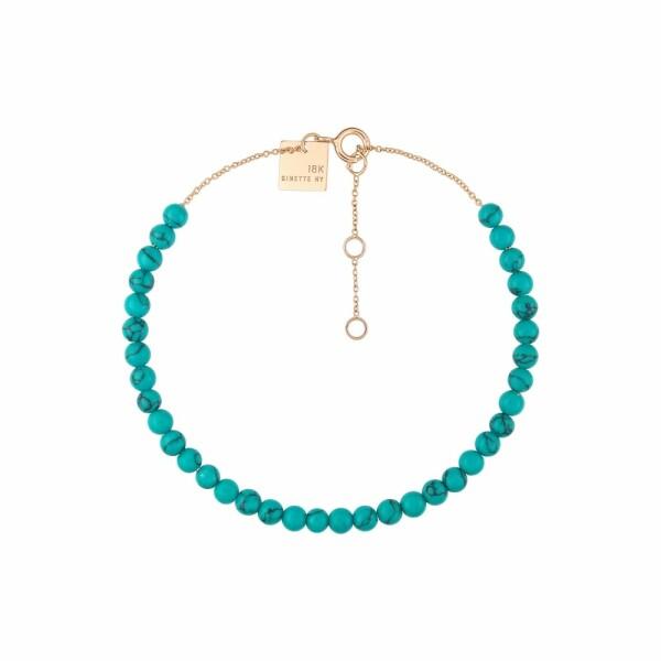 Bracelet GINETTE NY MARIA en or rose et turquoise traitée