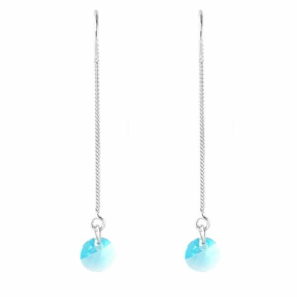 Boucles d'oreilles Indicolite Fiona en argent et cristaux Swarovski turquoises