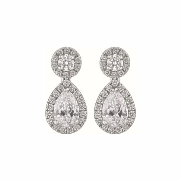 Boucles d'oreilles diamants taille poire et diamants taille brillant en or blanc