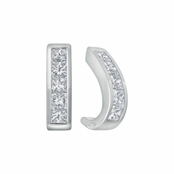 Boucles d'oreilles demi créoles diamants taille princesse en or blanc