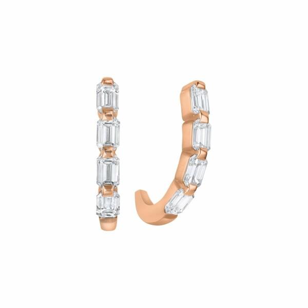 Boucles d'oreilles demi créoles diamants taille émeraude en or rose