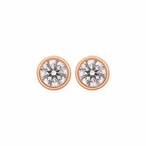 Boucles d'oreilles puces diamants taille brillant serti clos en or rose
