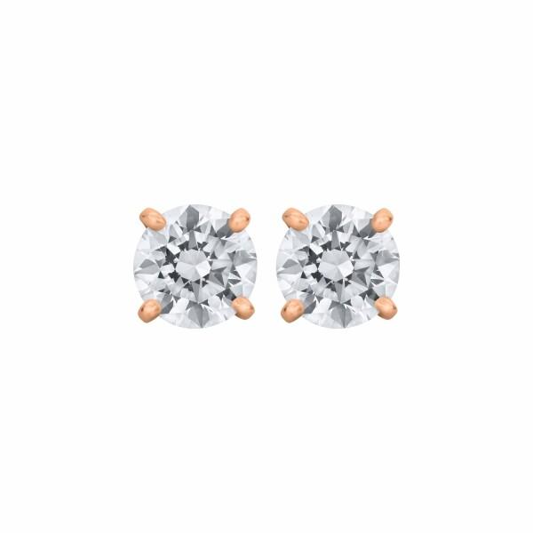 Boucles d'oreilles puces diamants taille brillant sertis 4 griffes en or rose