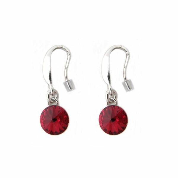 Boucles d'oreilles Indicolite Emily en argent et cristaux Swarovski rouges