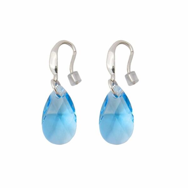 Boucles d'oreilles Indicolite Larme en argent et cristaux Swarovski bleus clairs