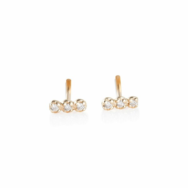Boucles d'oreilles GINETTE NY GOLD & DIAMOND STRIP en or rose et diamants