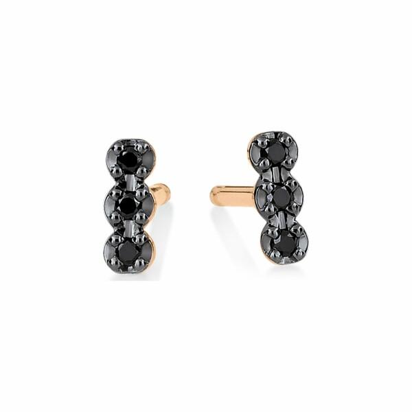 Boucles d'oreilles GINETTE NY BLACK DIA ICONS en or rose et diamant noir