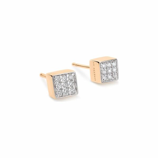 Boucles d'oreilles GINETTE NY EVER en or rose et diamant