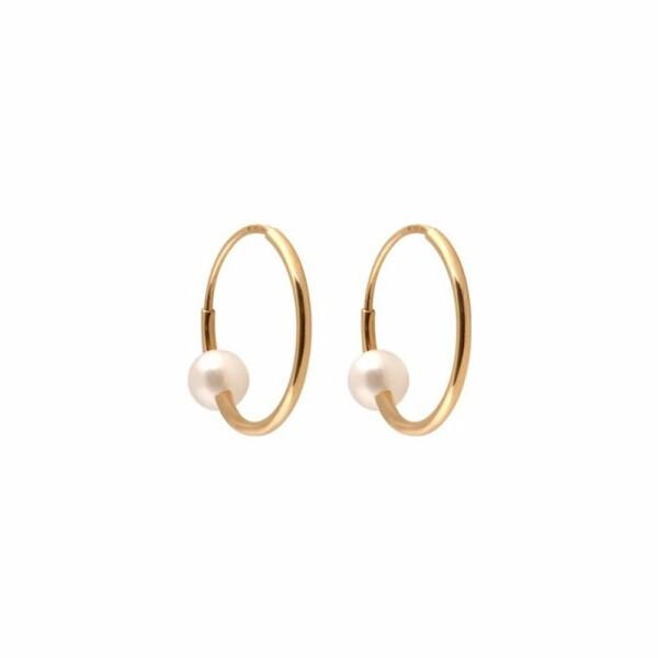 Boucles d'oreilles Claverin Mini Hoops en or jaune et perles blanches