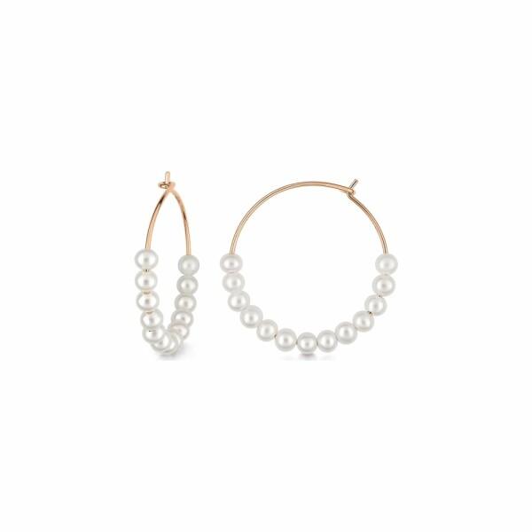 Boucles d'oreilles GINETTE NY MARIA en or rose et perle de culture d'eau douce