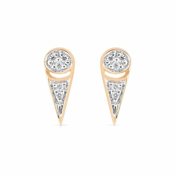 Boucles d'oreilles GINETTE NY MRS JOE en or rose et diamant