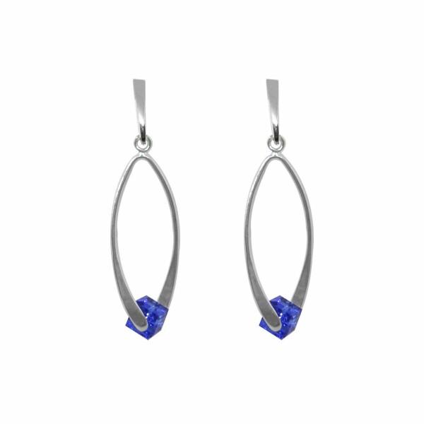 Boucles d'oreilles Indicolite Pixel Carine en argent et cristaux Swarovski bleus