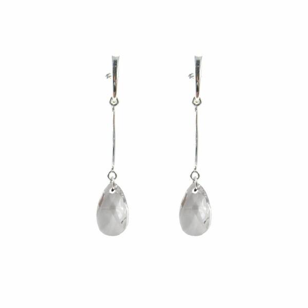 Boucles d'oreilles Indicolite Larme en argent et cristaux Swarovski blancs