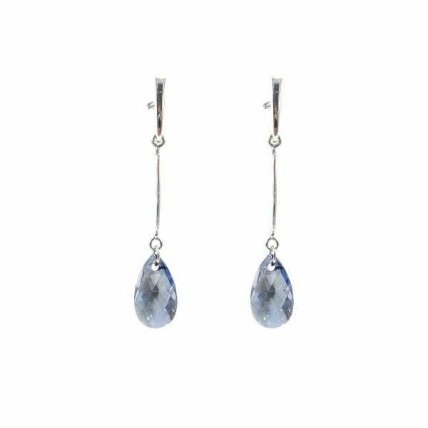 Boucles d'oreilles Indicolite Larme en argent et cristaux Swarovski bleus