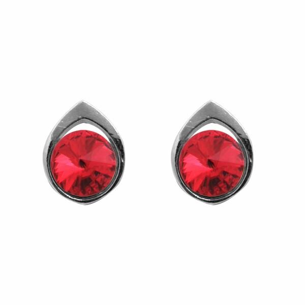 Boucles d'oreilles Indicolite  en argent et cristaux Swarovski rouges