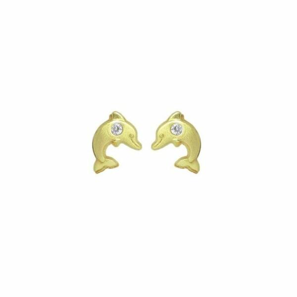 Boucles d'oreilles Lucas Lucor dauphin en or jaune et oxydes de zirconium