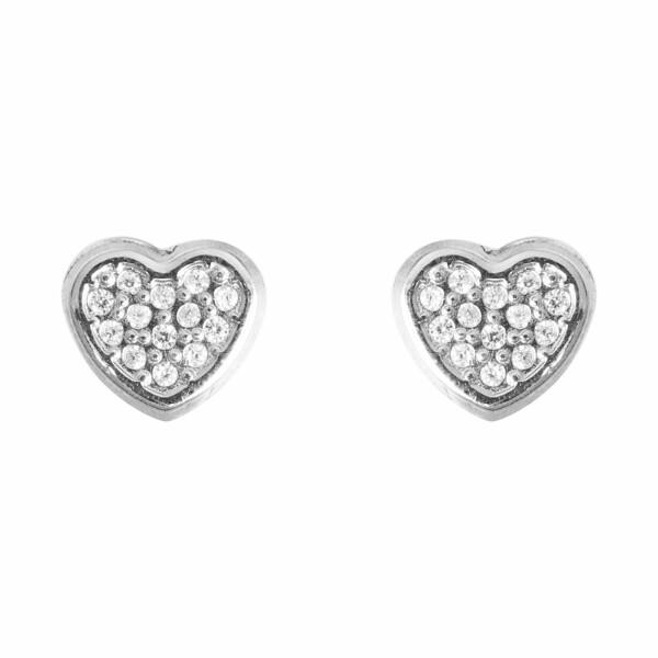 Boucles d'oreilles Lucas Lucor cœur en or blanc et oxydes de zirconium