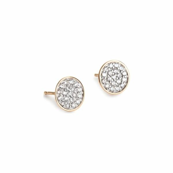 Boucles d'oreilles GINETTE NY DIAMOND SEQUINS en or rose et diamant