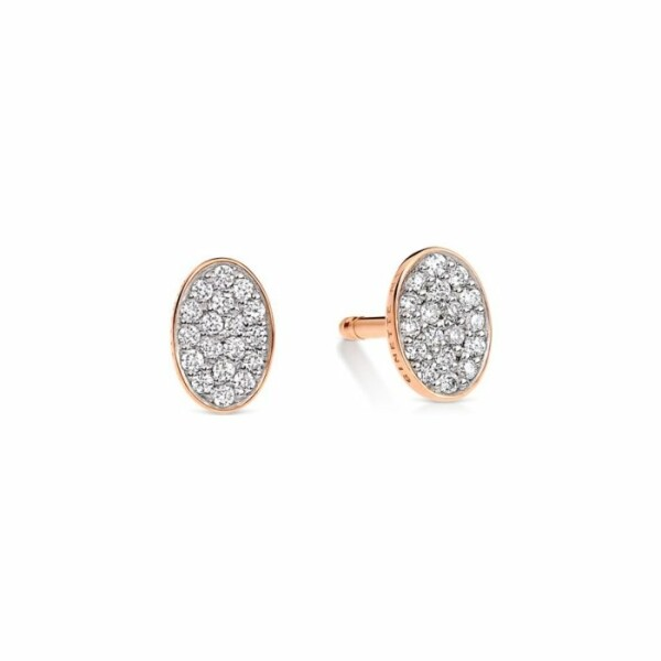 Boucles d'oreilles GINETTE NY ELLIPSES & SEQUINS en or rose et diamants
