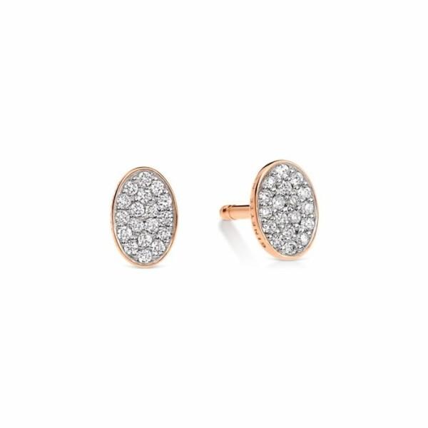 Boucles d'oreilles GINETTE NY ELLIPSES & SEQUINS en or rose et diamants