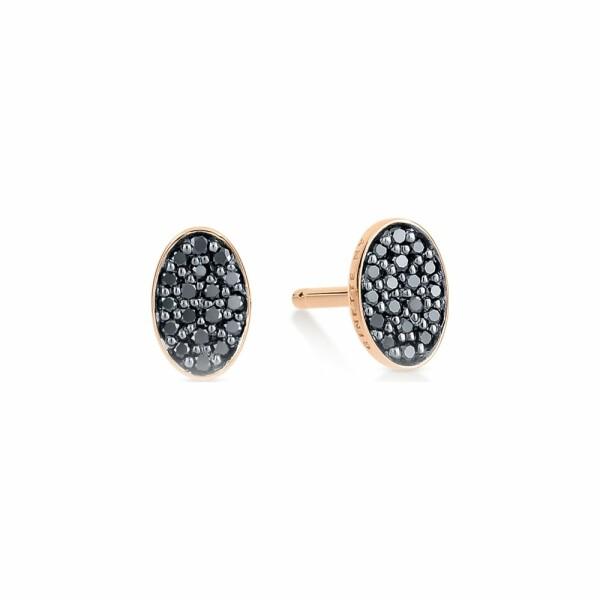 Boucles d'oreilles GINETTE NY ELLIPSES & SEQUINS en or rose et diamants noirs