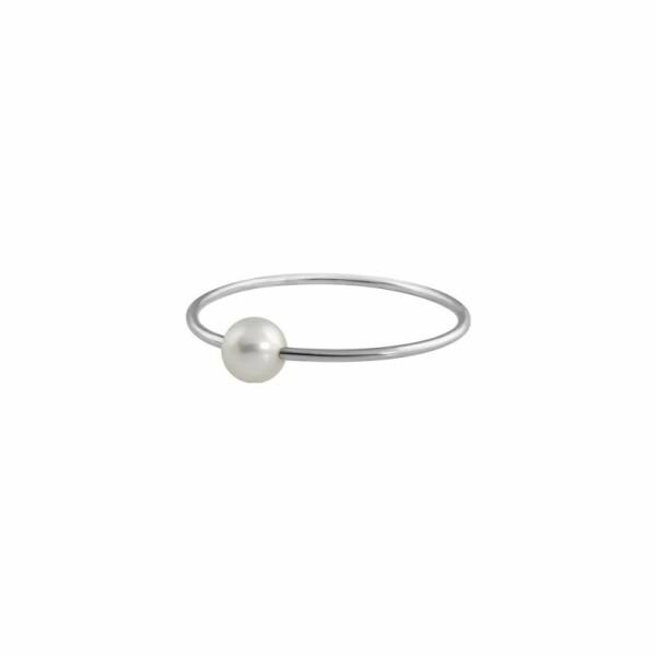 Bague Claverin Mini Simply Mini en or blanc et perle blanche