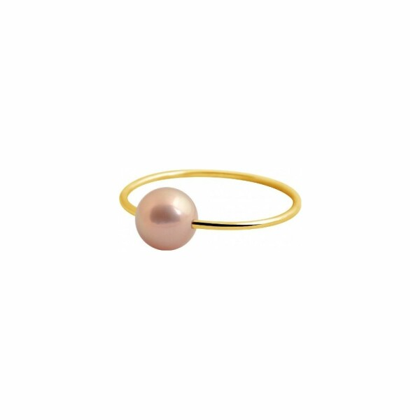 Bague Claverin Simply Pearly en or jaune et perle rose