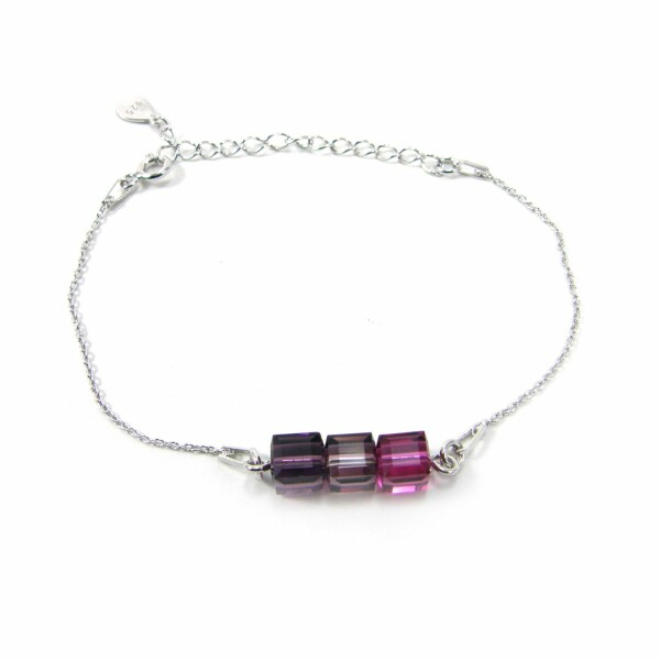Bracelet Indicolite Pixel 3 Carré en argent et cristaux Swarovski roses