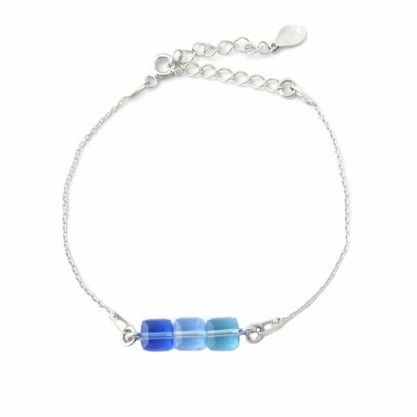 Bracelet Indicolite Pixel 3 Carré en argent et cristaux Swarovski bleus