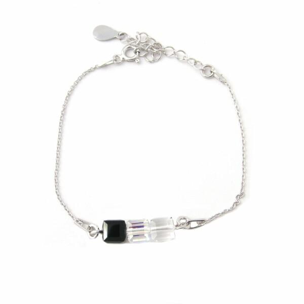 Bracelet Indicolite Pixel 3 Carré en argent et cristaux Swarovski noirs et blancs