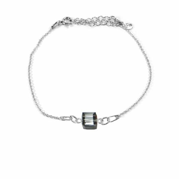 Bracelet Indicolite Pixel Carré en argent et cristaux Swarovski gris