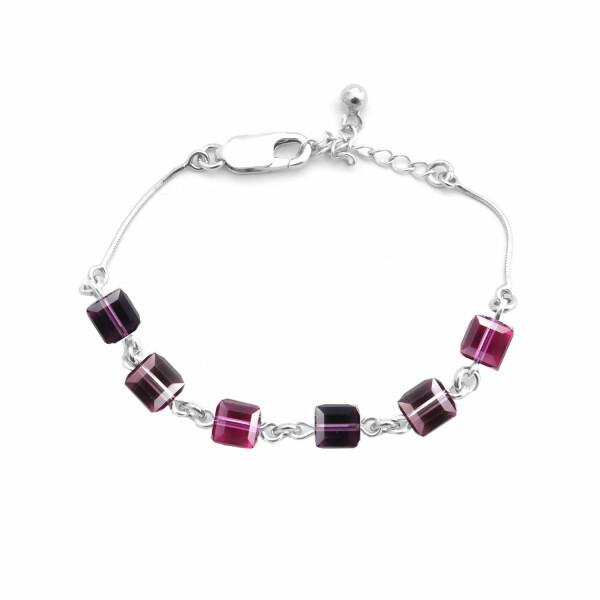 Bracelet Indicolite Pixel Cube en argent et cristaux Swarovski roses
