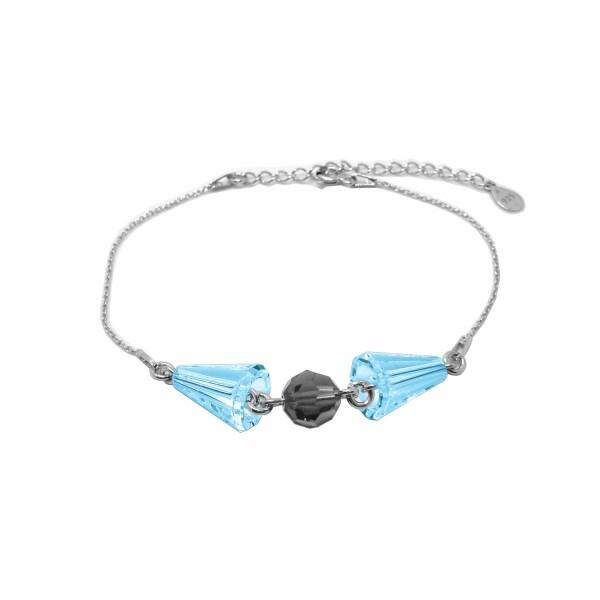 Bracelet Indicolite  en argent et cristaux Swarovski bleus et gris