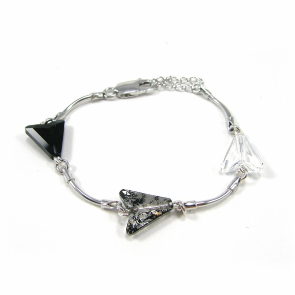 Bracelet Indicolite  en argent et cristaux Swarovski blancs