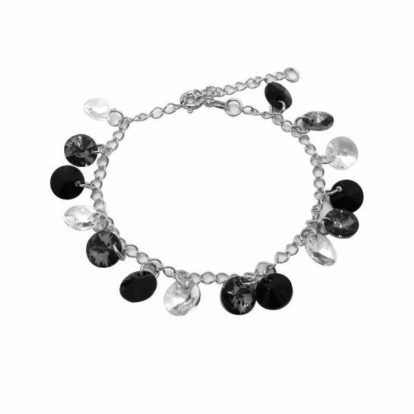 Bracelet Indicolite Helen en argent et cristaux Swarovski blancs, noirs et gris
