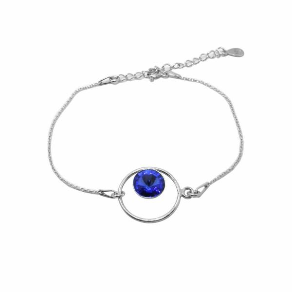 Bracelet Indicolite Josette en argent et cristaux Swarovski bleus