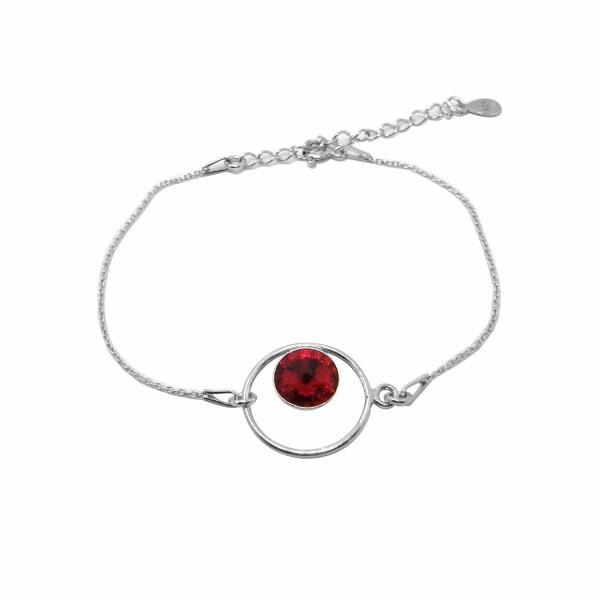 Bracelet Indicolite Josette en argent et cristaux Swarovski rouges