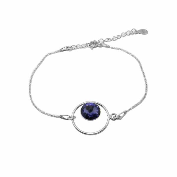 Bracelet Indicolite Josette en argent et cristaux Swarovski violets