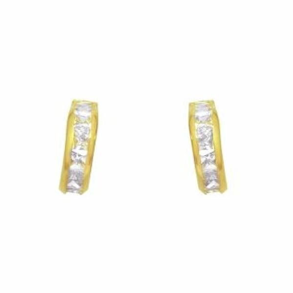 Boucles d'oreilles Lucas Lucor en or jaune et oxydes de zirconium