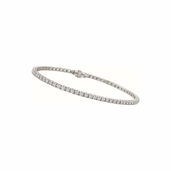 Bracelet ligne de diamants taille brillant en or blanc