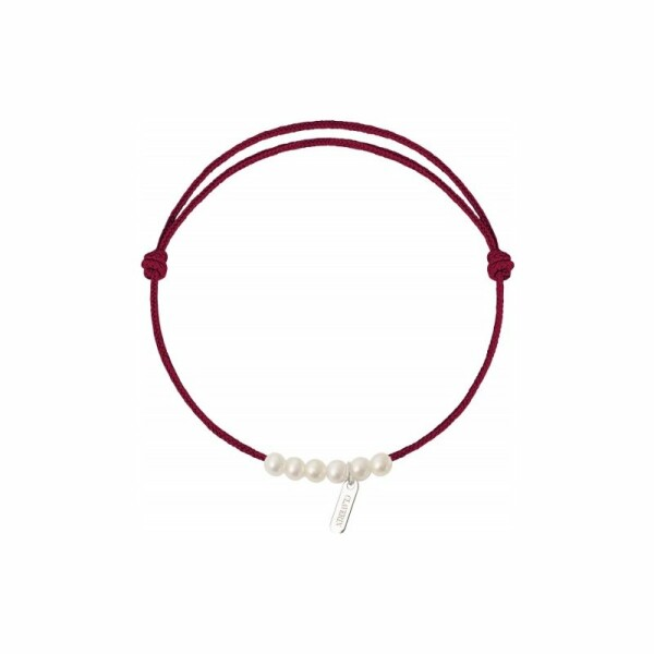 Bracelet sur cordon Claverin Cordon Mini en or blanc et perles blanches