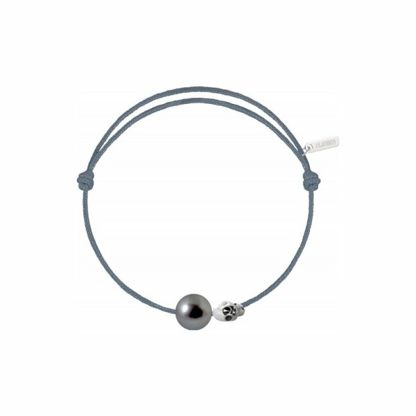 Bracelet sur cordon Claverin Unisex Cords en or blanc et perle de Tahiti