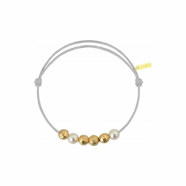 Bracelet sur cordon Claverin Cordon Mini en or jaune et perles blanches